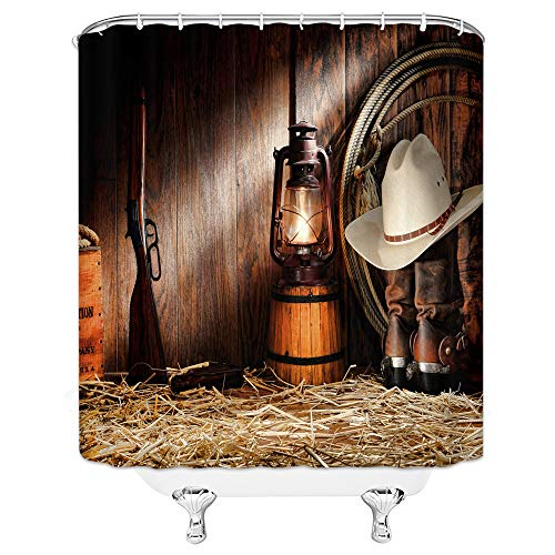 Xnichohe Western Cowboy Shower Curtain Set Rodeo Cowboy Boots Hat Gun Lantern on Straw in Wooden Barn Rural Country Style Shower Curtain 70x70 Inch Waterproof Fabric with 12Hooks