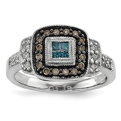JewelryWeb Mujer Plata fina 925 plata de ley cuadrada HI Diamante azul