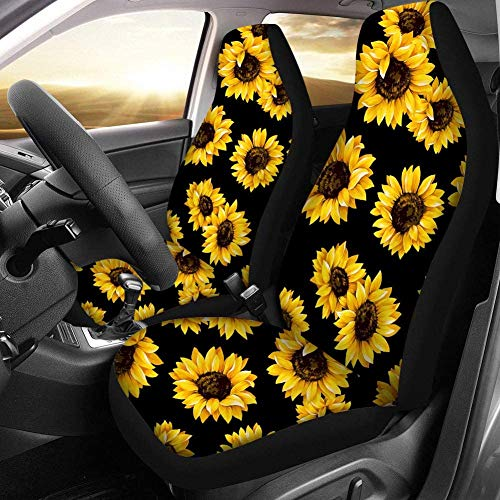 PZZ Sunflower Auto Seat Covers Floral Vehicle Seat Protector Car Mat Cover,Fit Most Cars, Sedan, SUV,Van