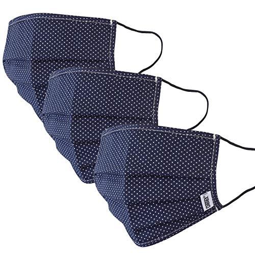 Mund-Nasen-Maske 3er Set Gesichtsmaske Behelfsmaske Baumwolle Stoffmaske wiederverwendbar Maske waschbar blau gepunktet