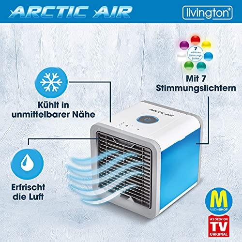 MediaShop Livington Arctic Air – Luftkühler mit Verdunstungskühlung – Mobiles Klimagerät mit 3 Stufen und 7 Stimmungslichtern – Mini Klimagerät mit Tankvolumen für 8h Kühlung - 3