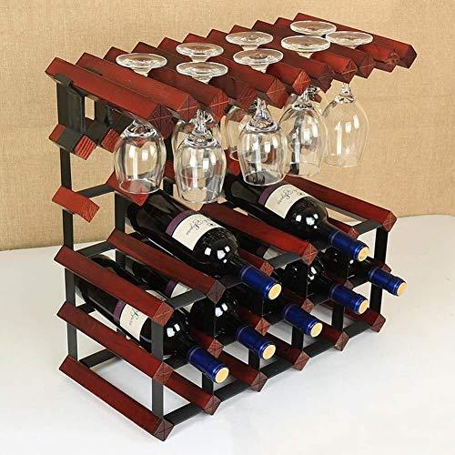 GLYYR Weinregal Lagerwein-Rack, freistehender Aufbewahrungstasche mit 15 Flaschen Wein und 8 Weingläser-Anzeigen-Aufbewahrungsständer (Farbe: Wein rot) (Color : Wine Red)