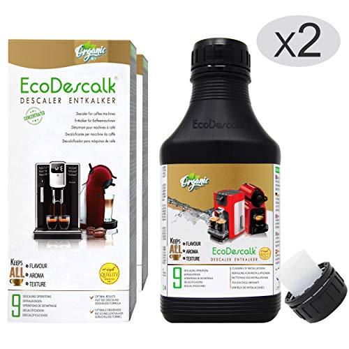 EcoDescalk Biologico Concentrato (2x9 Decalcificazioni). Decalcificante 100{c39223d953463a37bb446c26b488fe84e6ab08fe0b6bb098a04326df984a6d8e} Naturale. Detergente per Macchine da caffè. Tutte Le Marche: Bosch, Nespresso, DeLonghi, Tassimo, Krups. Prodotto CE.