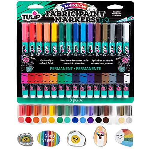 TULIP Fabric Paint Markers Rainbow 15 Pack, for Permanent Color on Fabric, Wood, Rocks