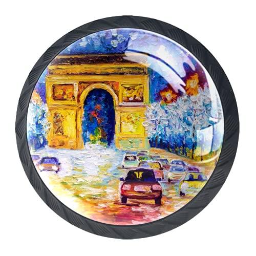 Manijas para cajones Perillas para gabinetes Perillas Redondas Paquete de 4 para armario, cajón, cómoda, cómoda, etc.. Pintura al óleo-Arc De Triomphe Paris