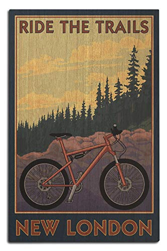 Lantern Press New London, Connecticut - Ride The Trails - Mountain Bike Scene 103120 (12x18 Wood Wall Sign, Wall Decor Ready to Hang)