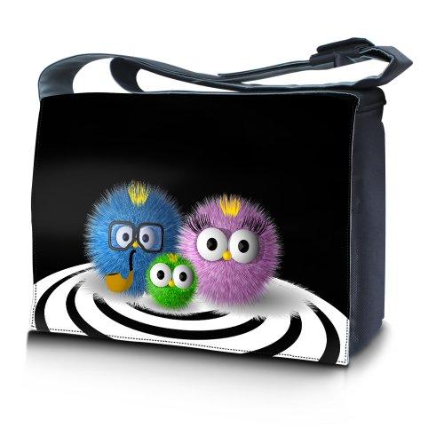 Luxburg® Design Messenger Bag Notebooktasche Umhängetasche für 15,6 Zoll, Motiv: putzige Familie