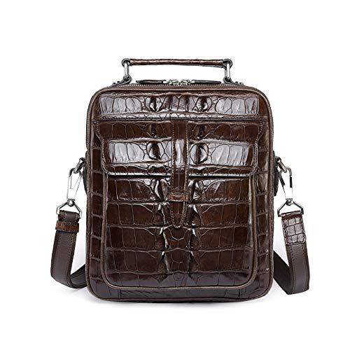 EEKUY Leisure Messenger Bag voor heren, krokodil lederen handtas schoudertas Aktetas voor school werk reizen 9.1 X 2.56 X 10.63 Inch