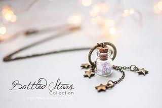 collana con bottiglia di vetro, collana con stelle glitter, gioielli con fiala di stelle, collana carina, regalo di natale...