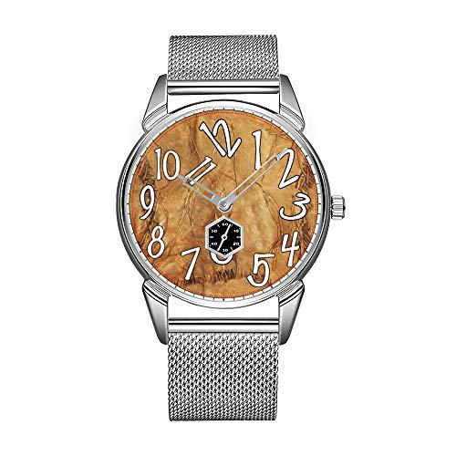 Reloj de pulsera para hombre de acero inoxidable plateado, resistente al agua,...