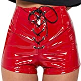 TOPUNDER Shorts for Women High-Waisted Leather Pants Fall Sexy Shorts Pants RD/S Red