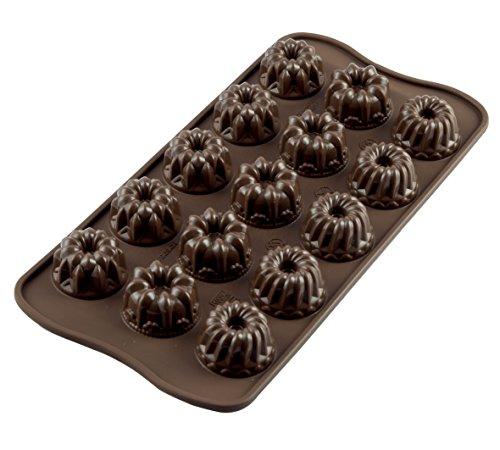 Silikomart 22.119.77.0065 SCG19 Moule pour Chocolat Thème Fantaisie 15 Cavités Silicone Marron