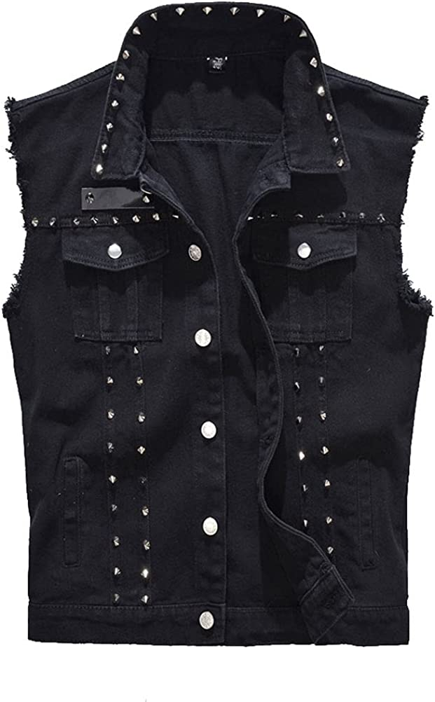 PAODIKUAI Women's Punk Rock Denim Vest Sleeveless Moto Jean Jackets With Rivets