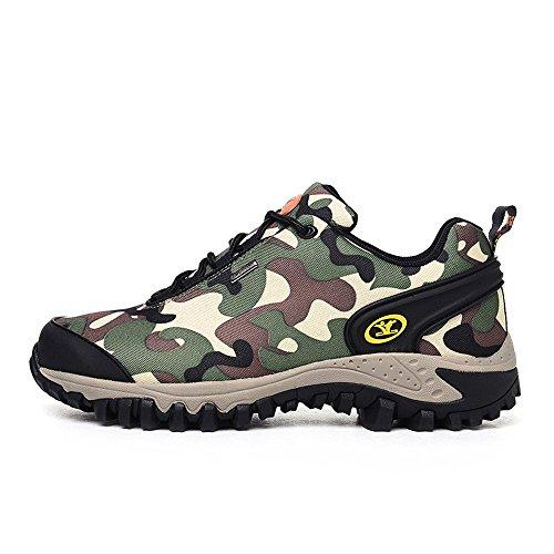 Xiang Guan Homme Camo Lace-up Imperméable Respirant Outdoor Footwear Chaussures de Camping Randonnée Walking Trekking (44 EU, Armée verte)