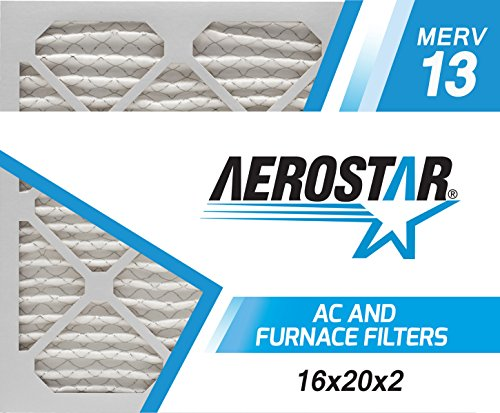Aerostar 16x20x2 MERV 13 Pleated Air Filter, AC Furnace Air Filter, Captures Virus Particles, 6-Pack (Actual Size: 15 1/2' x 19 1/2' x 1 3/4')