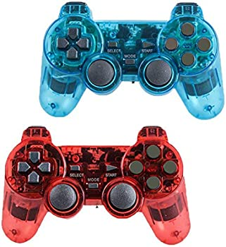 Wireless Controller for PS2 Playstation 2 Dual Shock  Pack of 2,ClearBlue and ClearRed