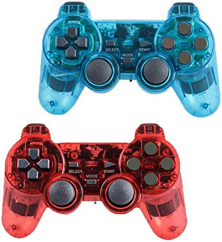 Wireless Controller for PS2 Playstation 2 Dual Shock (Pack of 2,ClearBlue and ClearRed)