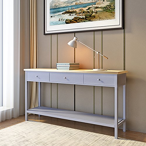 Beshomethings Side Console Table with 2 Drawers and 1 Shelf Grey Storage Wooden Hall Desk for Dining Living Room Hallway Home (Grey With 3 Drawers)