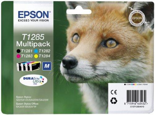 Epson Multipack T1285 4 colori – Cartuccia di inchiostro per stampanti, originale, inchiostro a base di pigmenti, nero, Ciano, Magenta, Giallo, Epson, Epson Stylus S22/Sx125/Sx130