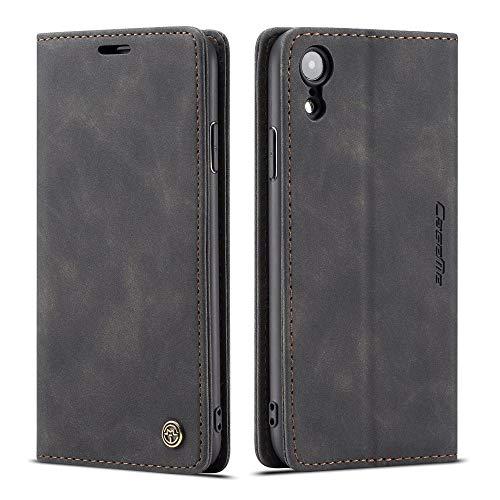 CE Mall Hülle für iPhone XR, Leder Flip Handyhülle Schutzhülle Tasche Hülle mit [Magnetverschluss] [Standfunktion] [Kartenfach] für iPhone XR Hülle,für iPhone XR Handyhülle-Schwarz