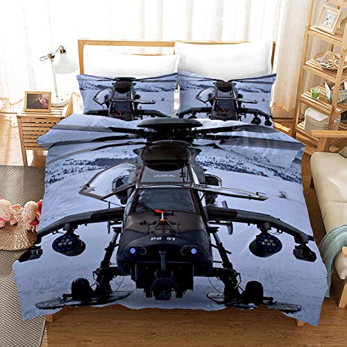 NHBTGH Printed Duvet Cover Double Size White Polyester Bedding Set with Zipper Closure Quilt Cover Set+2 Pillowcases Easy Care Anti-Allergic Soft & Smooth Apply to Boy Girl Bedroom Airplane