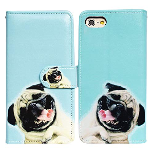 Bcov 2020 4.7-inch iPhone SE Case,iPhone 8 Case,iPhone 7 Wallet Case, Funny Pug Dog Wallet Leather Cover Case with Kickstand and Card Holder Slots Side Pocket for iPhone 7/8 4.7' iPhone SE