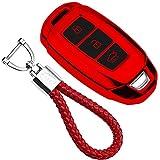 kaser Funda de Silicona para Llave Hyundai Keyless – Cover Mando Distancia Carcasa de TPU Cromo Suave para Hyundai Kona i10 i20 i30 ioniq Tucson Santa Fe Protección con Llaveros (Rojo)