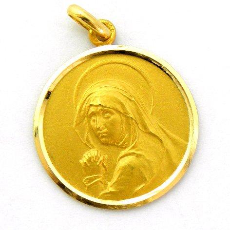 Vírgen de los Dolores - Medalla en Oro de 1ª Ley de 18k