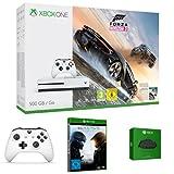 Xbox One S 500GB Konsole - Forza Horizon 3 Bundle + Halo 5: Guardian + zwei Xbox Wireless Controller Weiß + Xbox One Chatpad QWERTZ