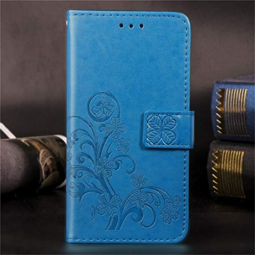 Wdckxy HNZZ phone case, Lucky Clover Pressed Flowers Pattern Leather Case for Galaxy A10E / A20E, with Holder & Card Slots & Wallet & Hand Strap (Color : Blue)