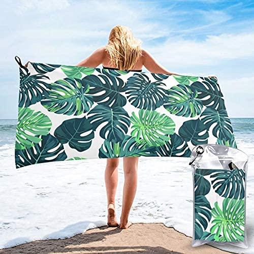 Toalla de baño grande verde tropical palmera seca rápida toallas unisex selva flores plantas hojas para ducha/yoga/piscina/gimnasio/picnic (31.5 pulgadas x 63 pulgadas)