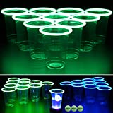 GLOWPONG Green vs Blue Glow-in-The-Dark Beer Pong Game Set for Indoor Outdoor Nighttime Competitive Fun, 12 Green vs 12 Blue Glowing Cups, 4 Glowing Balls, 1 Ball Charging Unit Makes Every Shot Glow