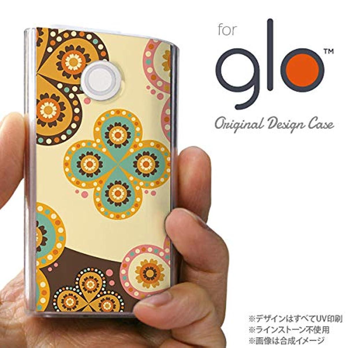 に向けて出発前文素人glo グローケース カバー グロー エスニック花柄 ベージュ×茶 nk-glo-1583
