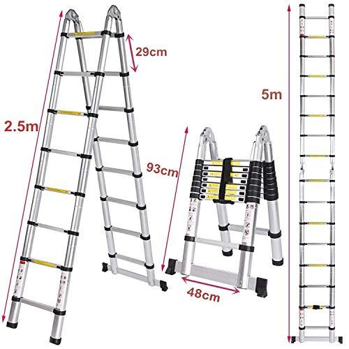 Voluker Échelle Télescopique Pliante 5M (2,5M + 2,5M), Échelle Escabeau Télescopique En Aluminium 16 Echelons, Charge max 150 kg