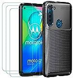 ivoler Hülle für Motorola Moto G8 Power, Handyhülle mit 3 Panzerglas Schutzfolie, Schwarz Stylisch Karbon Design Anti-Kratzer Stoßfest Schutzhülle Cover Weiche TPU Silikon Hülle