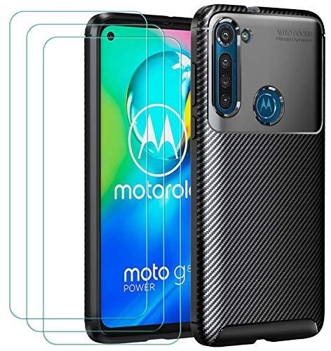 ivoler Funda para Motorola Moto G8 Power + 3 Unidades Cristal Templado, Fibra de Carbono Negro TPU Suave de Silicona [Carcasa + Vidrio Templado] Ultra Fina Caso y Protector de Pantalla