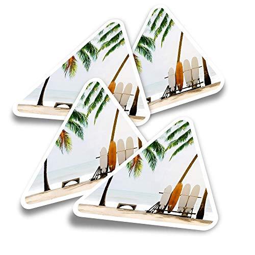 Pegatinas triangulares de vinilo (juego de 4) – Tablas de surf Beach Palm Tree Fun Calcomanías para portátiles, tabletas, equipaje, reserva de chatarra, nevera #2472
