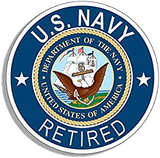 Round U.S. Navy Retired Sticker (Naval Vet Veteran Bumper USS us ret)