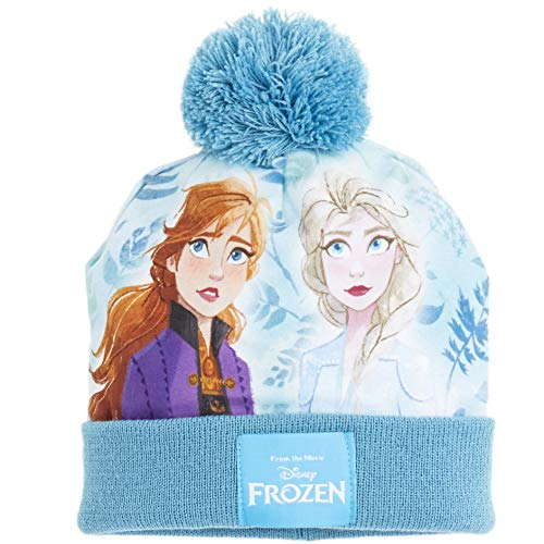 Disney Frozen Girls Hat Scarf And Gloves Set with Anna and Elsa, Frozen Accessories for Girls, Gift Idea for Winter (Blue)