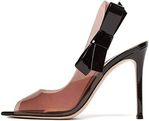 YT-ER Mode Sandalen Sharp Toe Schlanke High Heels Bow Damenschuhe High Heels, Orange, 36