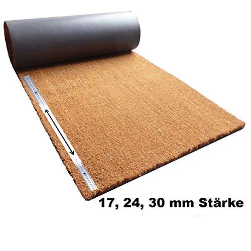 Kokosmatte Meterware   Kokos Fußmatte Zuschnitt auf Wunschlänge   Stärke: 17, 24 oder 30 mm – Breite: 100 cm – Länge: 100 cm-300 cm   ab 59,84 € (ab 39,90 €/m²)    hier: 100-150 cm lang, 17 mm dick