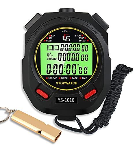 Cronometro Sportivo Professionale,Cronometro Digitale Memoria 60 con Funzione Luce e Muto per Palestra Corsa