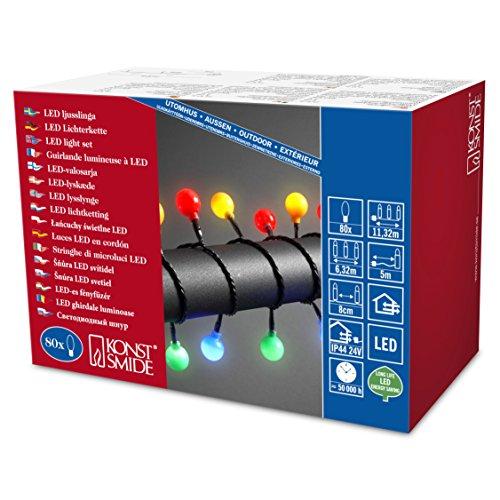 Konstsmide 3696-507 Guirlande d'Eclairage de Cerise Grande Extérieur 80 LEDs 24 V Multicolore Câble Noir