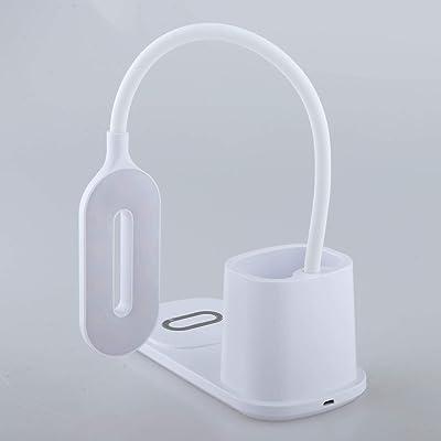 Generic Lampe de Bureau LED, Veilleuse Lampe de Lecture Dimmable Desk Lamp pour Étudier, USB Rechargeable, Porte Stylo & Téléphone, Col de Cygne Flexible - Blanc