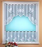 Gardine Scheibengardine C-Bogen Set 2-teilig in rein weiß mit Tulpen - hochwertiger Jaquard -...