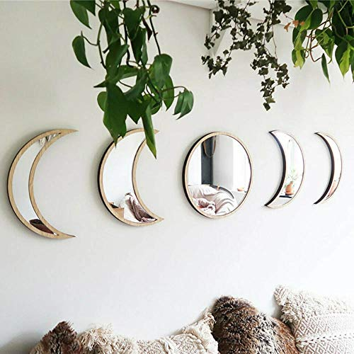 HONESFRIENWL Nordic Style Decor Acrylic Moonphase Mirrors Interior Design Wooden Mirror Moon Phase DIY Furniture Mirror Effect Wall Sticke Art Home Living Room (Color de Madera, 5Pcs)