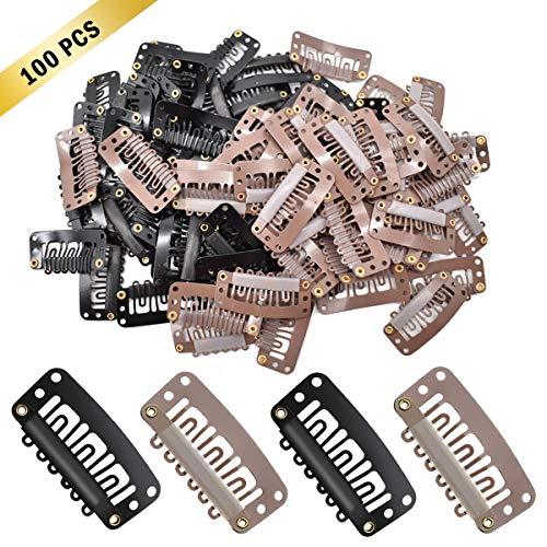Liwein Perücke Clips U Form Metall Clips Ersatz Haarclips Braun Schwarz 6 Zähne Tressenclips Perücken Clips für Haar Verlängerungen DIY Tressen 3,2 cm 100 Stück