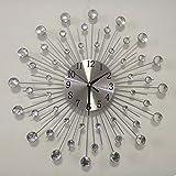 Lisaion 19,7 pulgadas / 50 centímetros diseño manual gran diámetro, cristal de perla brillante plateado mudo metal, reloj de pared moderno decoración Sala de estar