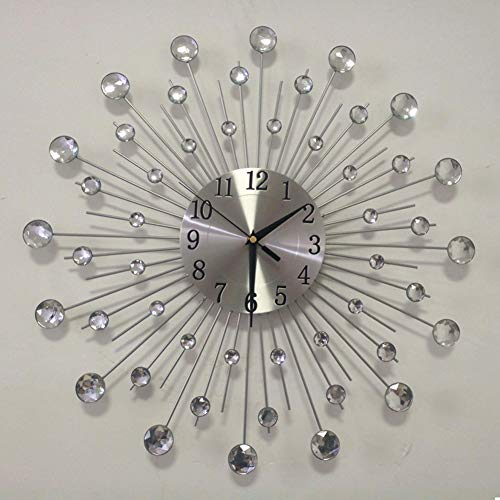 Lisaion 19.7inch/50cm Handcrafted Design Large Diamante Beaded Crystal Jeweled Sunburst Silver Silent Metal Art Wall Clock Morden Murale For Living Room Decoration Christmas Gift