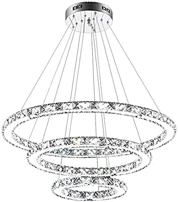 Techo de luz LED de 72W regulable Lámpara de diseño Lámpara colgante de cristal 3 anillos colgante de la lámpara 2800K - 6500K creativo Lustres de Iluminación en Comedor Salón Dormitorio Sala de Estud